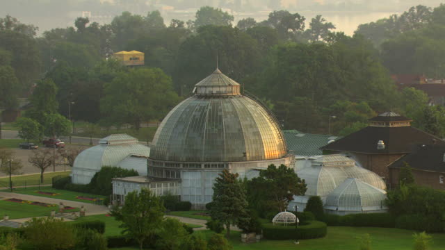 MS AERIAL Shot  of  Anna Scripps Whitcomb Conservatory on Belle Isle at sunrise time / Detroit, Michigan, United States