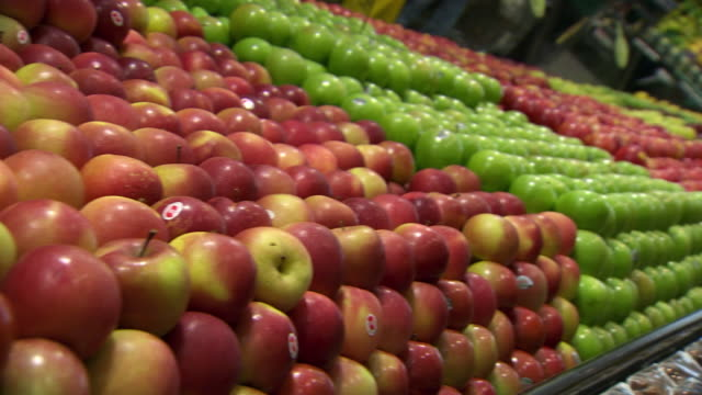 CU PAN Shot of Apples / Sydney, New South Wales, Australia