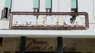 CU Shot of Art deco America Theater signs / Havana, Cuba