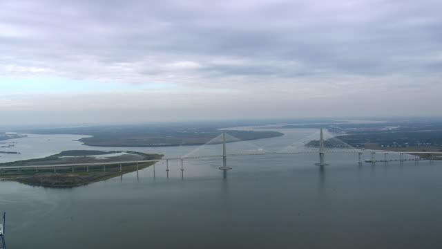 WS AERIAL Shot of Arthur ravenel jr bridge over Cooper river / South Carolina, United States