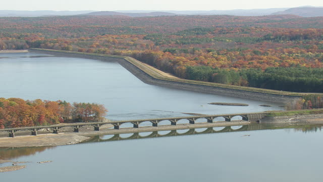 WS AERIAL Shot of Ashokan Reservoir / New York, United States