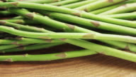 CU PAN Shot of asparagus / London, United Kingdom