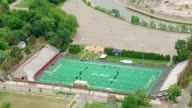 MS AERIAL TS DS ZO Shot of Atwood Stadium with plant remains / Flint, Michigan, United States