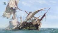 WS Shot of badly damaged ship at sea