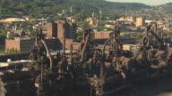 MS AERIAL ZI Shot of Bethlehem steel plant / Bethlehem, Pennsylvania, United States