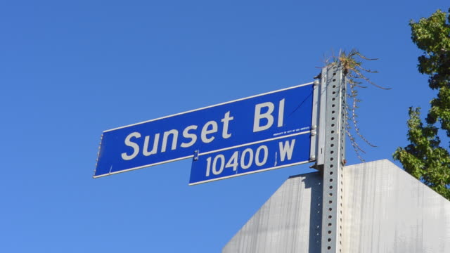 MS Shot of Beverly Hills famous Sunset Blvd street sign Sunset Boulevard / Hollywood, California, United States