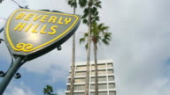 MS T/L Shot of Beverly Hills Shield sign / Beverly Hills, California, United States