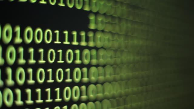 MS Shot of Binary code on computer monitor / Germany