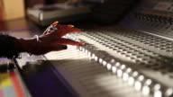 MS R/F Shot of black woman working at recording studio / Santa Fe, New Mexico, United States