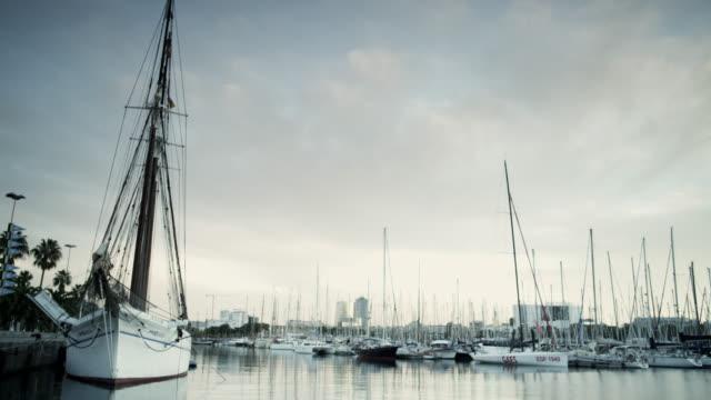 WS Shot of boat along Port / Barcelona, Catalunya, Spain