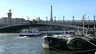 CU Shot of Boat in river and tour Eiffel / Paris, Ile de France, France