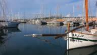 MS Shot of boats at Port de Pescador / Palma de Mallorca, Mallorca, Balearic Islands, Spain