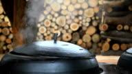 Shot of boiling Gamasot(traditional caldron)