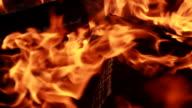 ECU SLO MO Shot of bonfire / Venice, California, United States