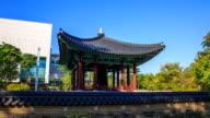 Shot of Bosingak bell pavilion(Korea Treasure 2) and stone wall in the National Museum of Korea