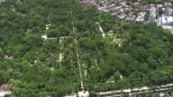 WS AERIAL Shot of Botanical Gardens area in city / Rio de Janeiro, Brazil