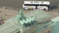MS AERIAL TU Shot of Brandenburg Gate / Berlin, Germany