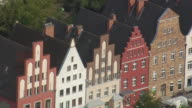 MS AERIAL Shot of brick Gothic buildings at Rostock / Germany
