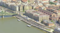MS AERIAL Shot of bride crossing river / Budapest, Hungary