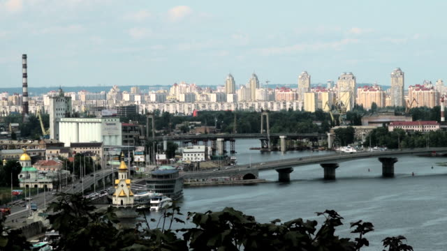 WS  Shot of bridge across dnipier river / Kiev, Ukraine