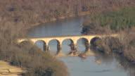 MS AERIAL Shot of bridge on small lake / South Carolina, United States
