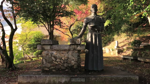 MS Shot of Bronze sculpture of Francis Xavier / Yamaguchi, Yamaguchi Prefecture, Japan