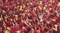 WS HA Shot of Buddhist Monks gathering for meditation / Ladakh, India