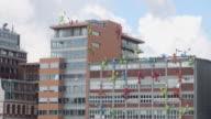 MS Shot of building at Medienhafen, Rhine / Dusseldorf, North Rhine Westphalia, Germany