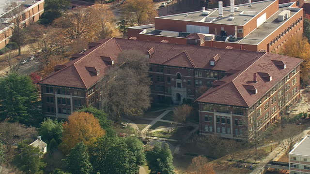 MS AERIAL Shot of building near clemson university / South Carolina, United States