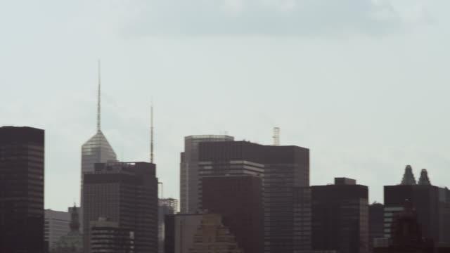 WS PAN Shot of buildings and Queensborough Bridge / New York, United States