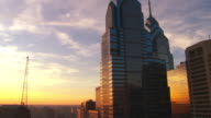 MS LA Shot of Buildings downtown during sunset / Philadelphia, Pennsylvania, United States
