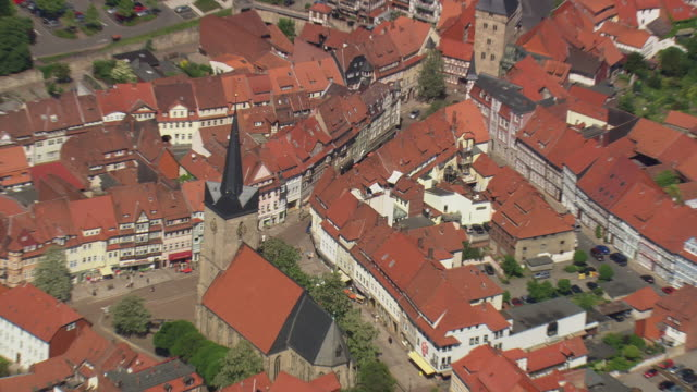 MS AERIAL ZO Shot of buildings rooftops with streets at Duderstadt / Germany