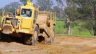 MS Shot of Bulldozer working on site / Oran Park, New South Wales, Australia