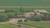 MS AERIAL Shot of Bunkers at Naval Ammunition Depot / Hastings, Nebraska, United States