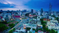 WS T/L Shot of busy area and buildings in cityscape / Ho Chi Minh City, Vietnam