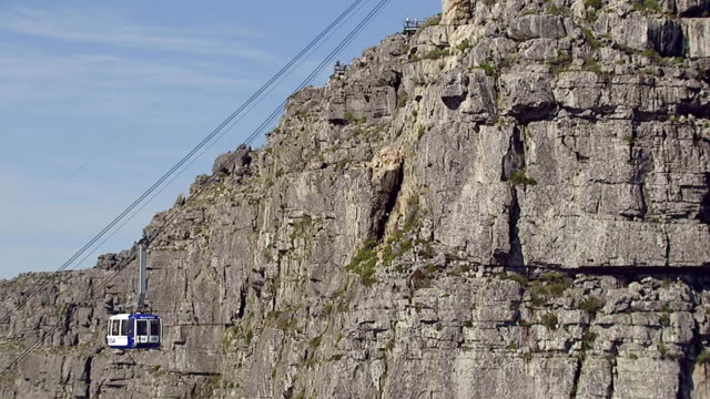 WS AERIAL TS Shot of Cable Car at Table Mountain, Cape Town / Western Cape, South Africa