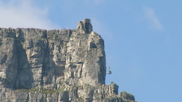 MS T/L Shot of cable car tower on table Mountain / Cape Town, Western Cape, South Africa