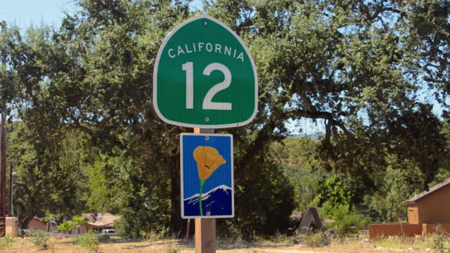 MS Shot of California 12 road scenic route wine country / Napa Valley, California, United States