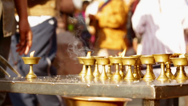 MS Shot of candle holders cleared away in shrine at Boudhanath Stupa at famous religious temple / Kathmandu, Nepal