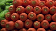 CU PAN Shot of Carrots stacked / Sydney, New South Wales, Australia