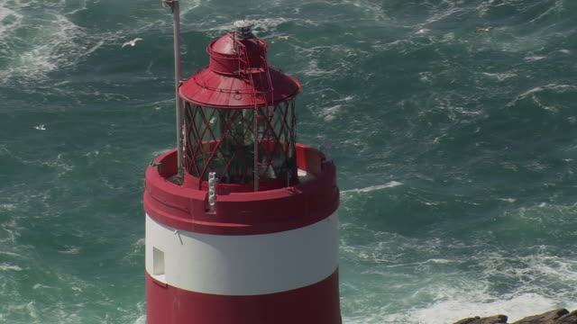 CU AERIAL DS ZO Shot of Casquets Lighthouse / Alderney, Channel Isles