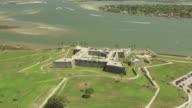 WS AERIAL TD Shot of Castillo de San Marcos by Matanzas River / St Augustine, Florida United States