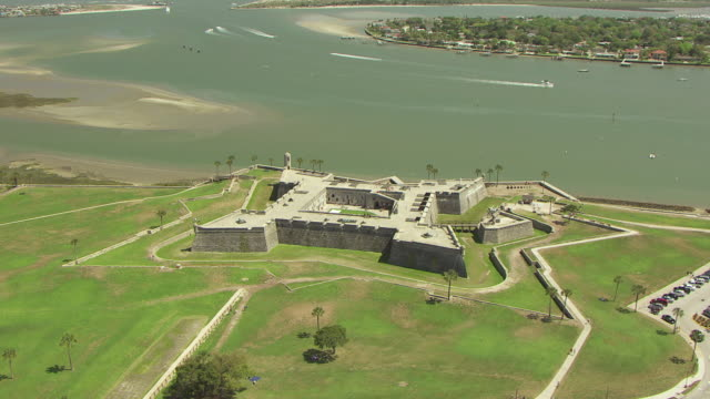 WS AERIAL TD Shot of Castillo de San Marcos by Matanzas River / St Augustine, Florida United States