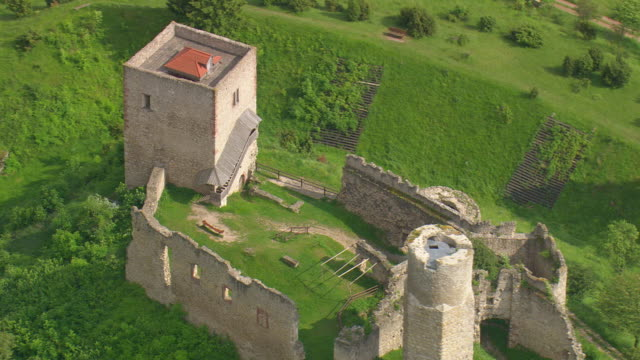 MS AERIAL DS Shot of castle in Harleshausen / Germany