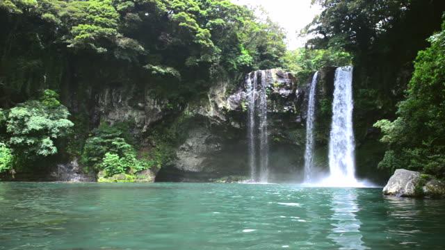 MS Shot of Cheonjeyeon waterfall on jeju island (Natural Monument Heritage) / Seogwipo, Jeju-do, South Korea
