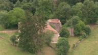 MS AERIAL DS Shot of Chez Keogh surrounding / Midi Pyrenees, France