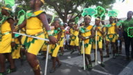 MS PAN Shot of Childrens carnival parade AUDIO / Nevis, Saint Kitts and Nevis