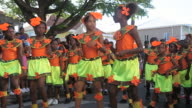 MS ZO Shot of Childrens carnival parade / Nevis, Saint Kitts and Nevis