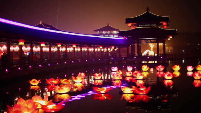 MS Shot of Chinese park at night during Spring Festival / Xian, China