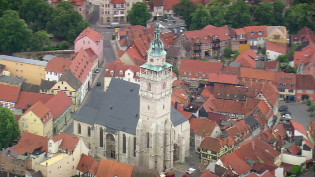 MS AERIAL Shot of church and houses at Bad Langensalza / Germany